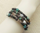 Leaf Litter bracelet: memory wire wrap bracelet with Job's Tears, turquoise, sunstone, and wood – last one!