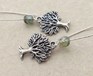 Mighty Tree earrings in silver with sparkly Czech glass in 'emerald glow' on silver-plated ear-wires