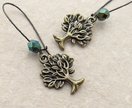 Mighty Tree earrings in bronze with sparkly Czech glass in 'green iris'