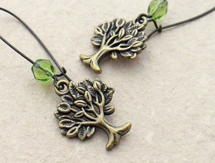 Mighty Tree earrings in bronze with sparkly, peridot green Czech glass beads