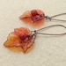 Fireberry earrings: flame coloured leaves and scarlet berries on long ear-wires