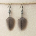 Daiki earrings: rustic labradorite stone beads and guineafowl feathers, on antiqued-brass coloured hooks
