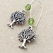 Mighty Tree earrings in silver with sparkly, peridot green Czech glass on silver-plated ear-wires