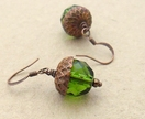 Persistent Acorn earrings in spring green and antiqued copper on short ear-hooks