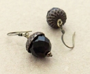 Persistent Acorn earrings in dark brown and antiqued brass on short ear-hooks