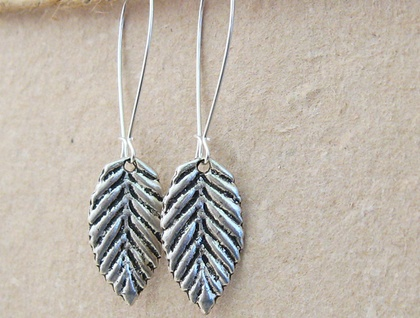 Silver Leaves: simple, birch leaf earrings with silver-plated ear-wires
