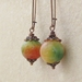 Tropical Fruit earrings: dyed jade beads on long, antiqued copper ear-wires