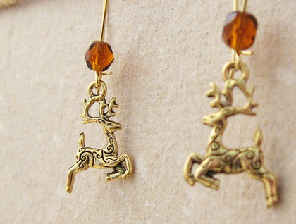 Golden Reindeer earrings: gold deer charms on gold-plated ear-wires with sparkling Czech glass