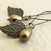 Pearl Berry earrings in antique brass: Swarovski pearls with bronze-coloured leaves