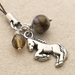 Rearing Pony cellphone charm with rhyolite stone and sparkly brown glass