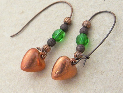 Copper Hearts earrings: vintage heart charms with bright green glass beads on long ear-wires – last pair!