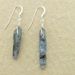 Asymmetrical Kyanite earrings #3: rustic, light blue semiprecious stones with sterling silver filled hooks