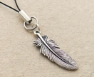 Silver Feather cellphone charm with silver-plated feather charm and black strap