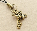Golden Frog cellphone charm with gold-plated froggie charm and black strap