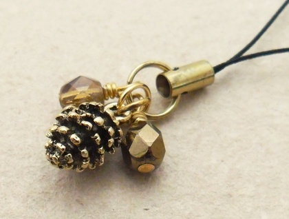 Autumn Pinecone cellphone charm with golden pinecone and sparkly brown glass beads and black strap