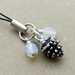 Winter Pinecone cellphone charm with silver pinecone and sparkly glass beads and black strap