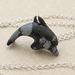Black Dolphin necklace: hand carved, semiprecious stone dolphin pendant on silver chain