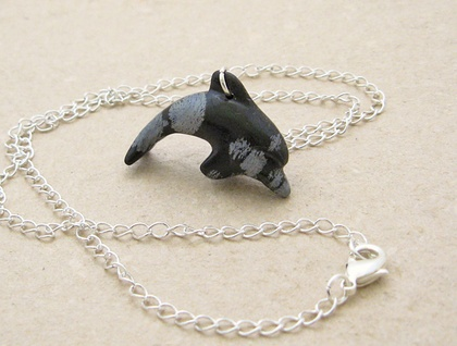 Black Dolphin Necklace Hand Carved Semiprecious Stone