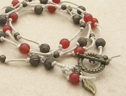 Carnelian and antiqued brass beads on cord – versatile necklace or wrap bracelet