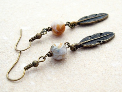 Featherdown earrings: bronze-coloured feather charms with semiprecious rhyolite – one of a kind