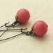 Cranberry earrings: vintage, light red beads on bronze ear-wires – last pair!