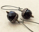 Persistent Acorn earrings in dark brown and antiqued brass on long ear-wires