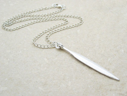 Willow Leaf necklace: long, antiqued-silver leaf pendant on silver-plated chain
