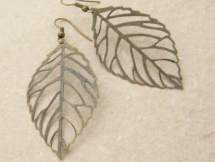 Bronze Skeleton Leaves earrings: skeleton leaves on simple ear-hooks or leverbacks –last pair!
