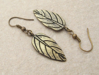 Little Bronze Leaf earrings: simple, antiqued bronze leaves with bold veining – last pair!