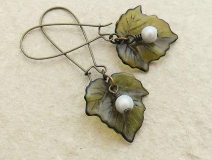 Baneberry earrings: dark green leaves & white berries on long ear-wires