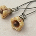Caramel Flowers earrings: creamy caramel-coloured glass blossoms on long ear-wires