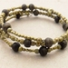 Ancient Sand: memory wire wrap bracelet with fair trade beads of brass and wood