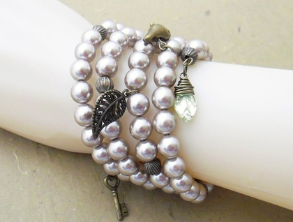 The Secret Garden bracelet: memory wire wrap bracelet in with taupe faux pearls and vintage-look charms