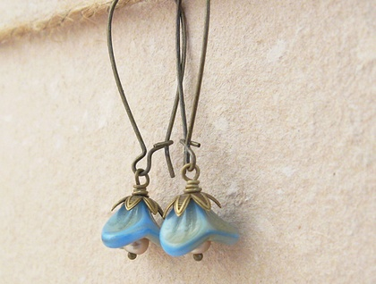 Blue Blossoms earrings: pale blue and tan glass flowers on long ear-wires – last pair!