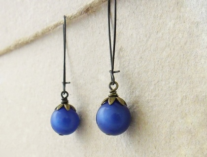 Blueberry earrings: vintage, deep-blue lucite globes on bronze earwires