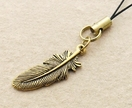 Golden Feather cellphone charm with gold-plated feather charm and black strap