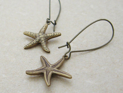 Brass Starfish earrings: lifelike, double-sided, antiqued brass starfish charms on long ear-wires