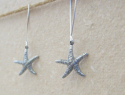 Silver Starfish earrings: lifelike, double-sided, antiqued silver starfish charms