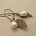 Pearl Berry earrings in cream: Swarovski pearls with bronze-coloured leaves