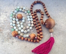 Handmade 108 Wood and Crystal Bead Meditation Mala Recycled New Zealand Rimu Timber&choice of crystals with custom tassel for Chakra Energy
