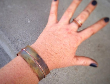 Recycled Copper Cuff Bracelet - Medium size