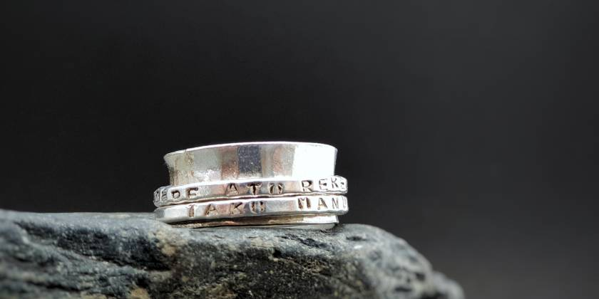 Meditation Spinner Ring - Customised Recycled Silver - Double Band