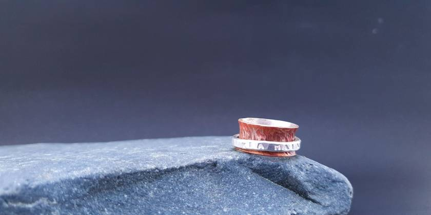 Meditation Spinner Ring for Men - Bonded Copper and Silver with spinning band