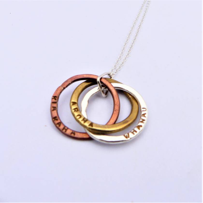 Trio of Circles Cluster Necklace - Mixed Metals or Silver
