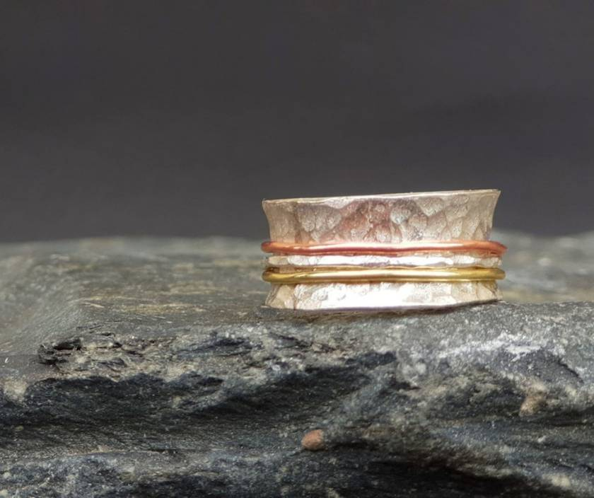 THE JOURNEY Silver Meditation Ring with Gold