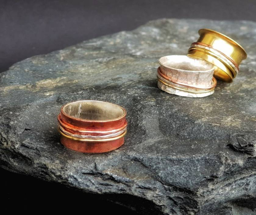 THE JOURNEY Copper Meditation Ring with Gold