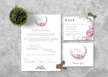 Walima Wedding Invitation - Set of 40