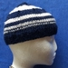Handknit: Navy Stripes - child's hat in navy and off-white