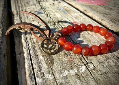 Carnelian tassel bracelet - gemtone tassel bracelet - gypsy bracelet - boho stacking bracelet - leather tassel bracelet - crystal bracelet