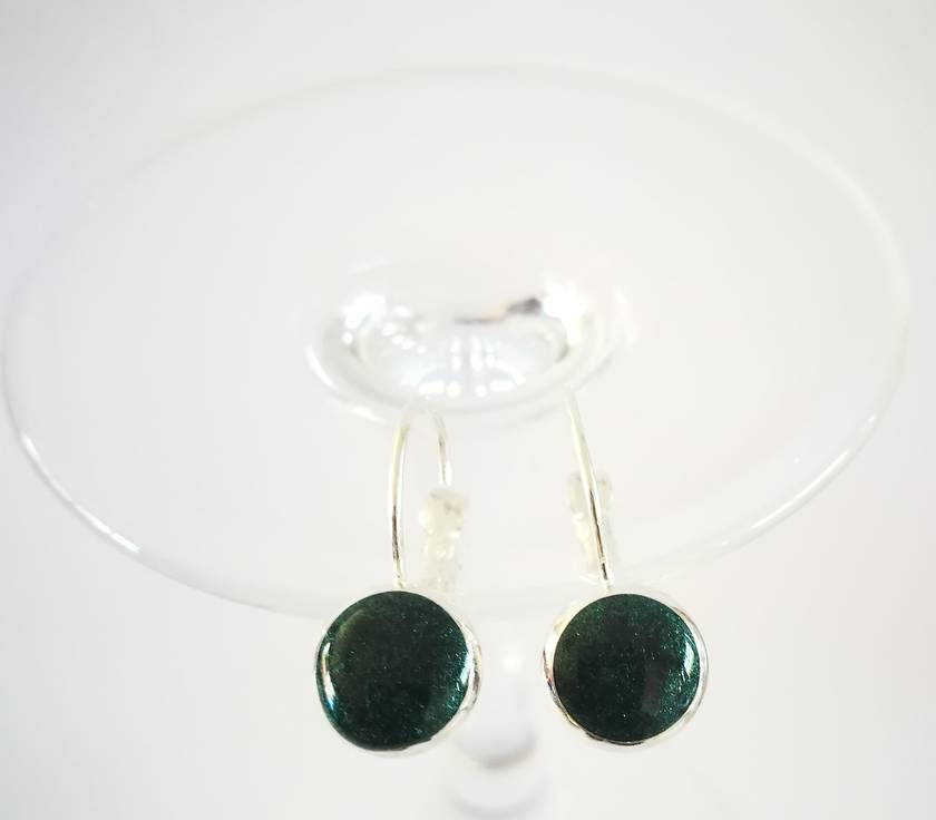Jade Green Shimmer Pearl Sterling Silver Earrings - 29